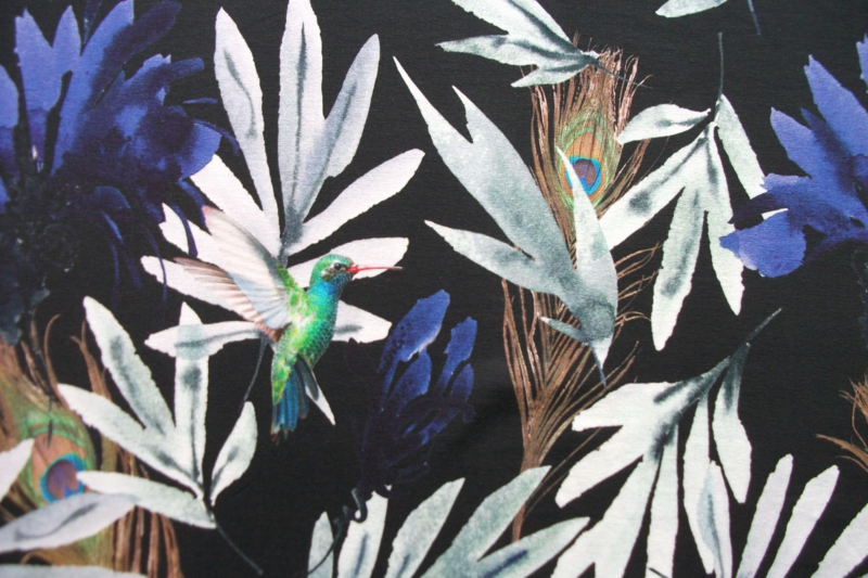 Tricot hummingbird digitale print