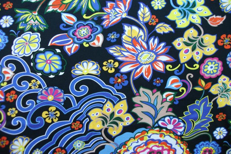 Tricot flower zwart