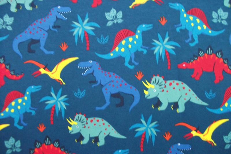 French Terry dino blauw