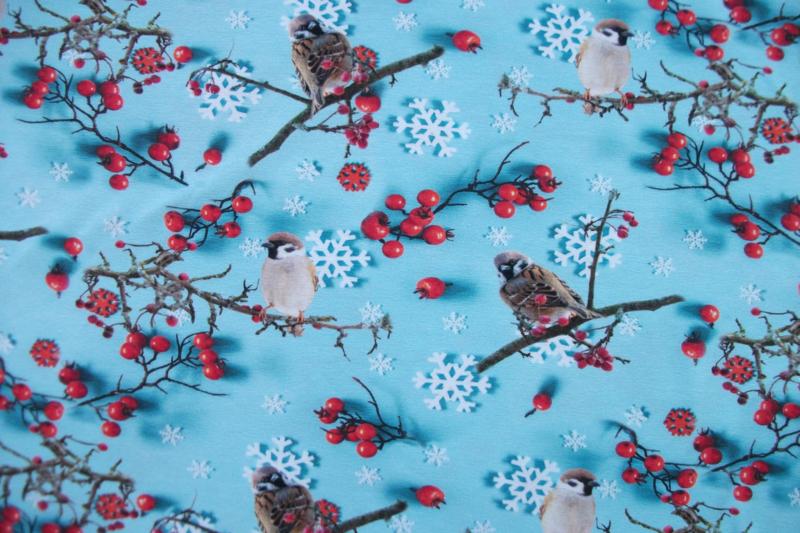 Tricot vogels en bessen digitale print
