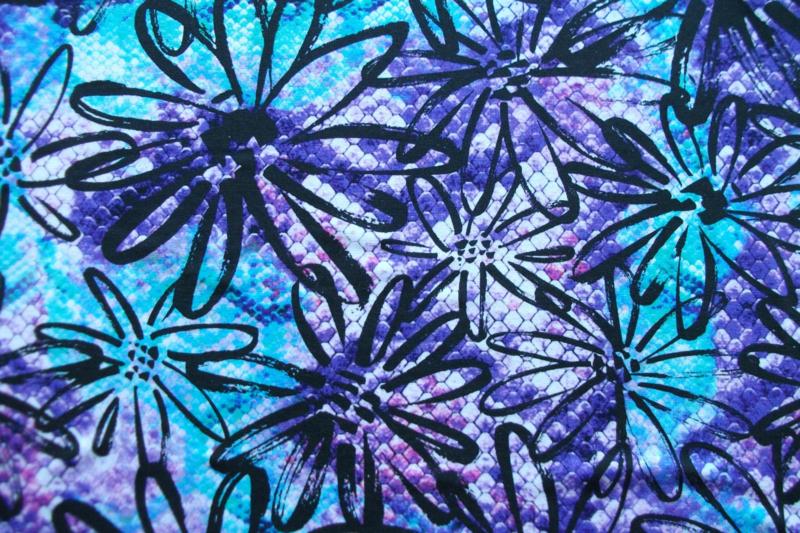 Tricot bloemen digitale print