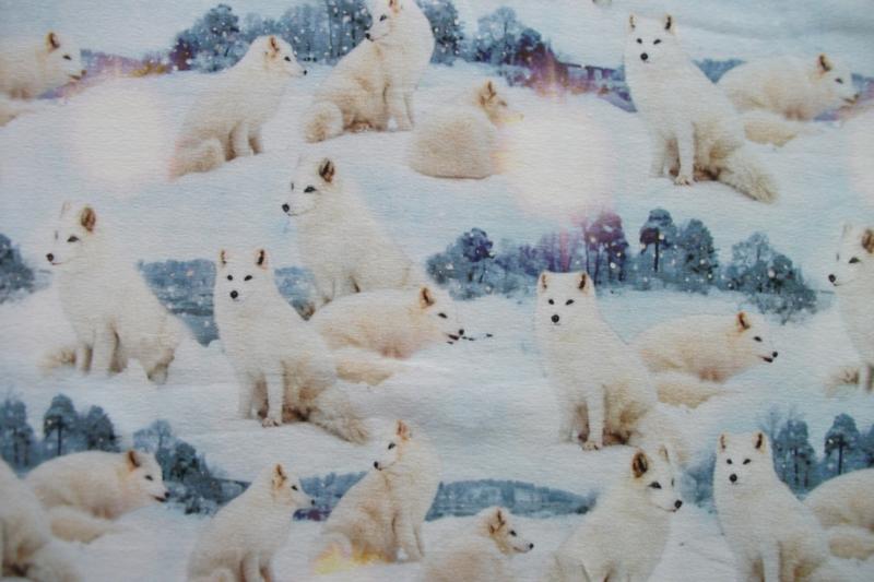 Tricot witte honden digitale print