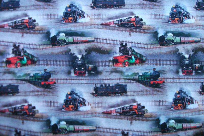 Tricot treinen digitale print