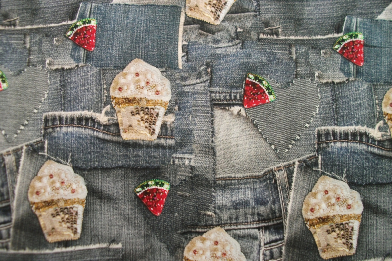 Tricot jeans cupcakes digitale print