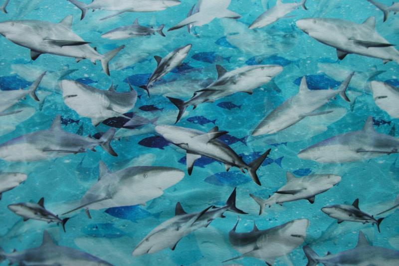 Tricot haaien digitale print