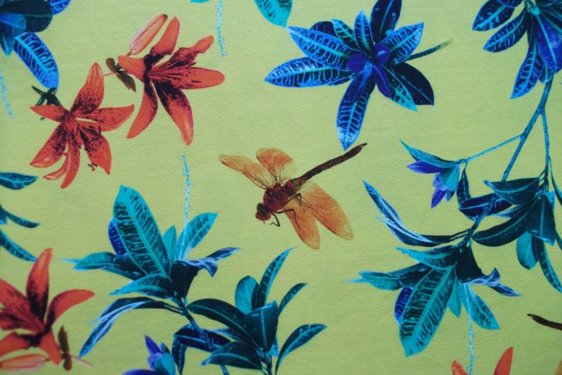 Tricot libelle geel digitale print