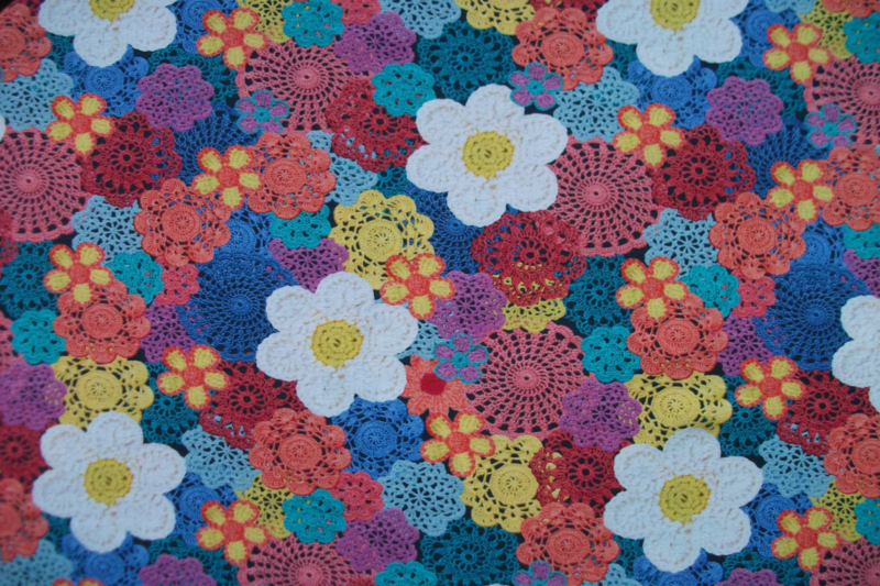 Tricot gehaakte bloemen digitale print
