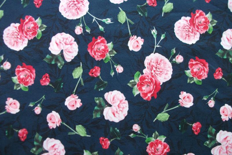 Tricot rozen digitale print