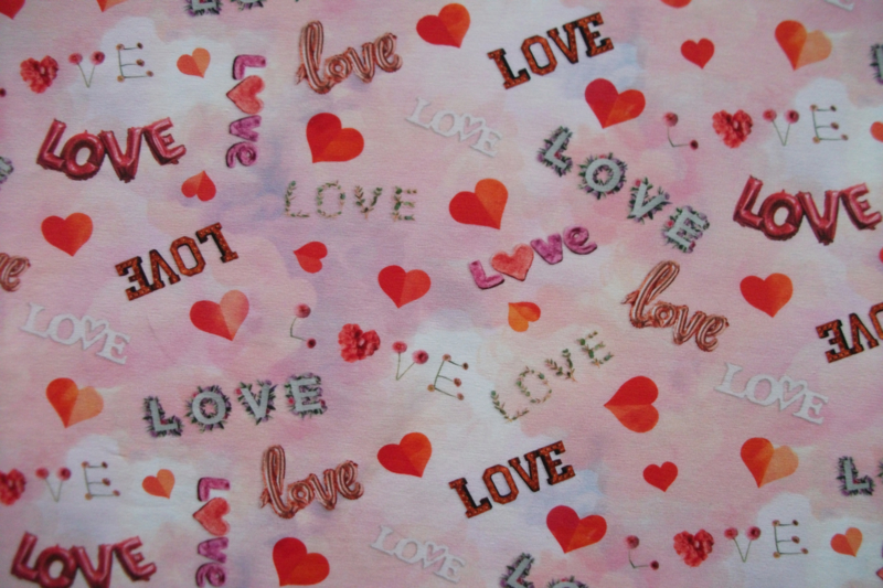 Tricot love hearts digitale print
