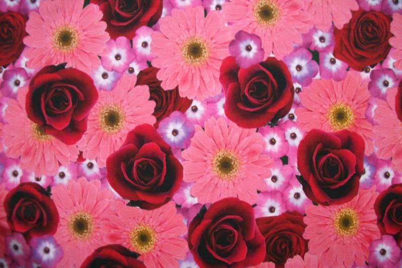Tricot bloemen pink digitale print