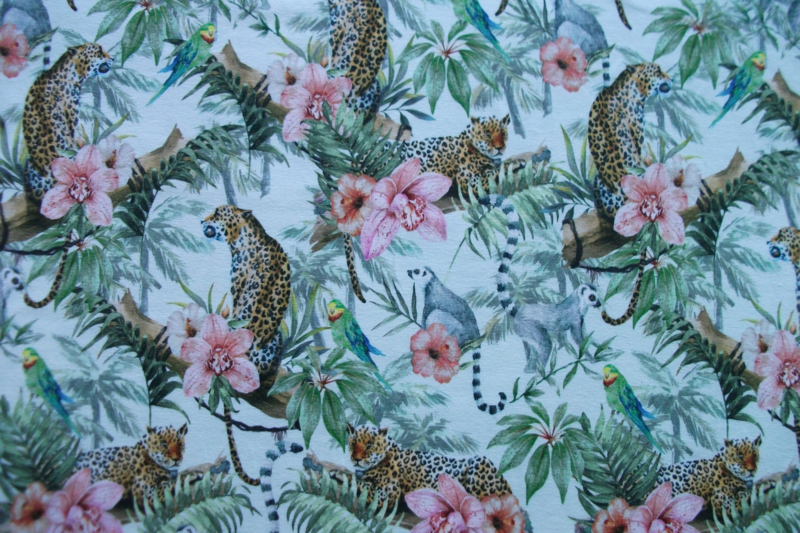 Tricot jungle animals digitale print