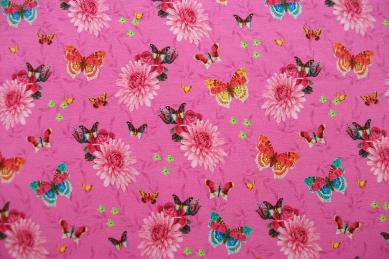 Tricot vlinders digitale print