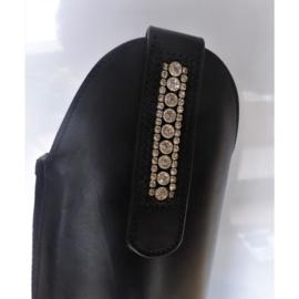 Laarzenclips met steentjes lak leder