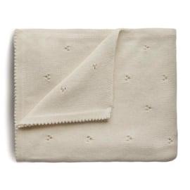 Mushie Deken Knitted Pointelle Baby Blanket - Ivory