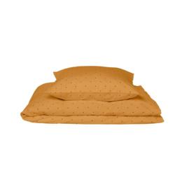 Liewood Carl Eenpersoons Dekbedovertrek - Classic Dot Mustard