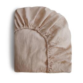 Mushie Hoeslaken Extra Soft Muslin Crib Sheet - Natural