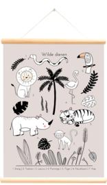 Little and Pure Schoolplaat Wilde Dieren Tropics - Roze (dubbelzijdig)