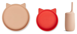 Liewood Siliconen Junior Kinderservies Set Nathan - Cat Apple Red Multi Mix