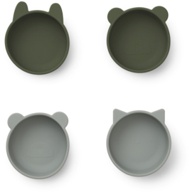 Liewood Iggy Silicone Bowl Kom - Hunter Green Mix (set van 4)