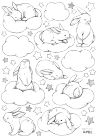 Lilipinso Bunny Muursticker A3 - Bunnies Clouds and Stars (S1220)