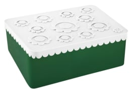 Blafre Lunchtrommel Bloemen - Donker Groen/Wit