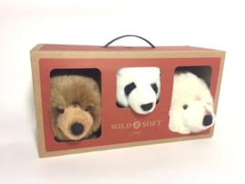 Wild and Soft Mini Safari Set van 3 Dierenkoppen - Bruine beer,  Pandabeer en IJsbeer