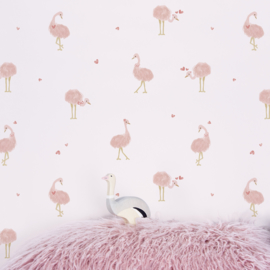Lilipinso Behang Sample Coquette Behang - Struisvogels