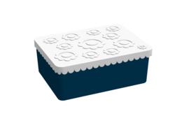 Blafre Lunchtrommel rechthoek Bloemen - Wit/Donker Blauw