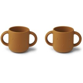 Liewood Gene Silicone Cup Drinkbeker - Rabbit Mustard (set van 2)