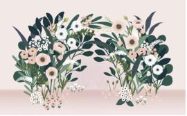 Lilipinso Wonderland Behang - Big Blossom Arch Pink