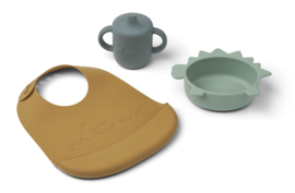Liewood Connor Baby Dining Set - Dino Peppermint Multi Mix