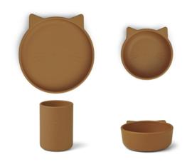 Liewood Siliconen Junior Kinderservies Set Cyrus - Cat Mustard