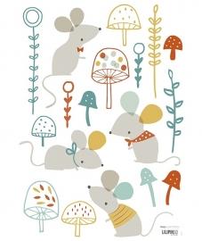 Lilipinso Forest Muisjes en paddenstoelen - Muursticker (S0698)