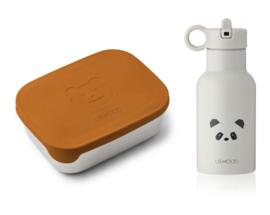 Liewood Lunch Box Set Joni - Mr Bear Mustard Panda Light Grey Mix