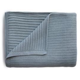 Mushie Deken Knitted Ribbed Baby Blanket - Smoke