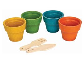 Plantoys Buiten - Houten Bloempotjes (4 stuks)
