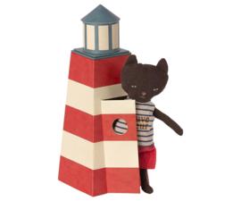 Maileg Beach Mice Lifeguard Kat in Toren - Vuurtoren