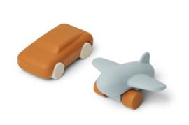 Liewood Auto en Vliegtuig Speelgoedset Kevin - Mustard / Sea Blue (set van 2)