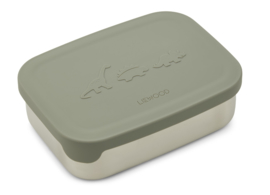 Liewood Lunchtrommel RVS Nina Lunchbox - Dino Faune Green (Extra groot)