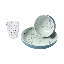 Done by Deer Yummi Mini Dinner Set Dreamy Dots - Blauw (3-delig, 6m+)