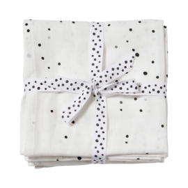 Done by Deer Hydrofiele doek XL Swaddle Dreamy Dots - Wit (set van 2)