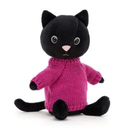 Jellycat Knitten Kitten Fuschia - Knuffel Kat (22 cm)