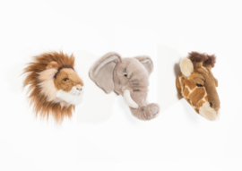 Wild and Soft Mini Safari Set van 3 Dierenkoppen - Olifant, Leeuw en Giraf