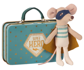 Maileg Superhero Mouse in Suitcase (10 cm)