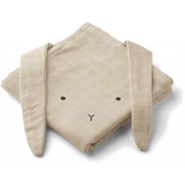 Liewood Hydrofiele Doek Konijn Muslin Cloth Rabbit - Sandy (set van 2)