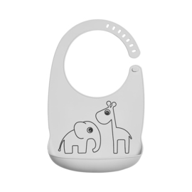 Done by Deer Siliconen Bib Slabbetje Deer Friends - Grijs