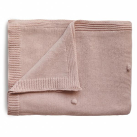 Mushie Deken Knitted Textured Dots Baby Blanket - Blush