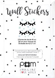 Pom Muurstickers - Wimpers groot met Sterretjes (zwart/licht blauw)