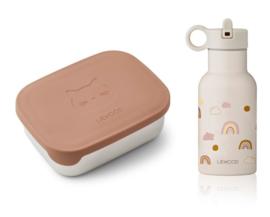 Liewood Lunch Box Set Joni - Rainbow Love Sandy Cat Rose Mix