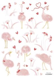 Lilipinso Coquette Muurstickers A3 - Struisvogels